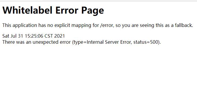 解决Spring Boot 出现This application has no explicit mapping for /error...错误
